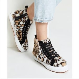 Superga x Jocelyn fuzzy leopard print high tops